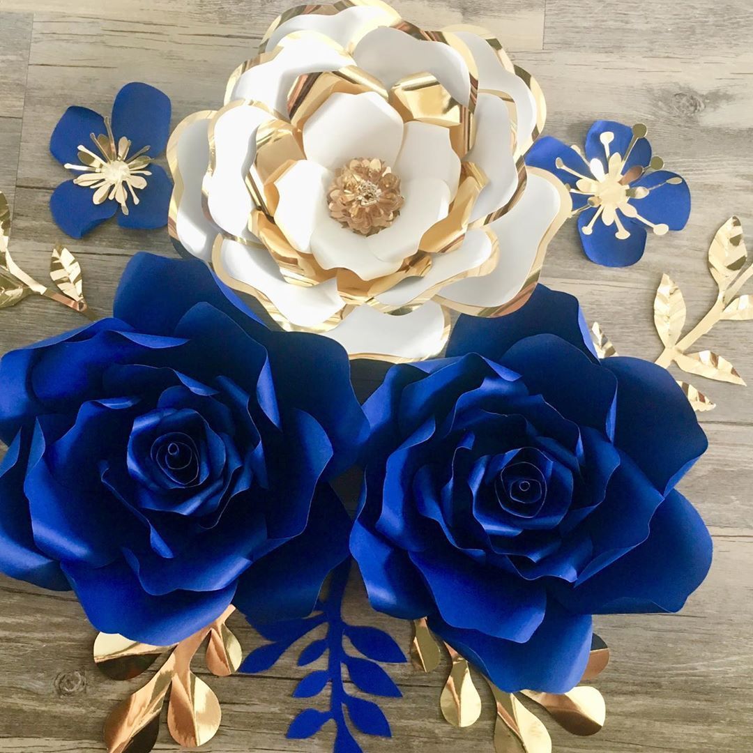 Blue White And Gold Paperflowers Nurserypaperflowers
