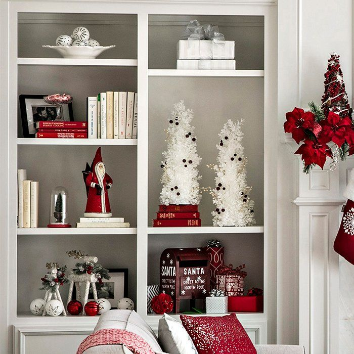 Open Plan Living Space Holiday Decor Ideas Christmas Bookshelf