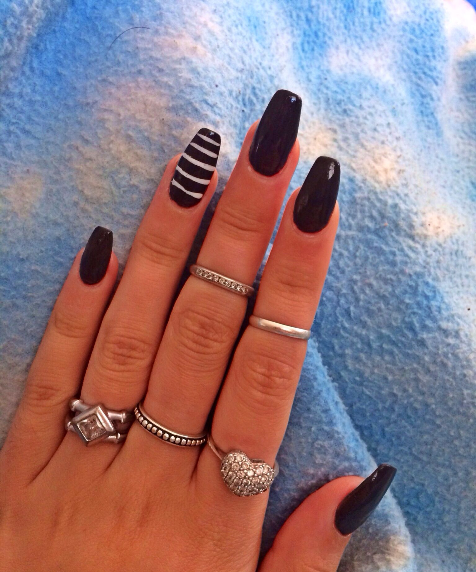 Coffin Shape Dark Grey Black Long Nails With Accent Striped Nail Love Love Love Coffin Shape Nails Grey Acrylic Nails Nails