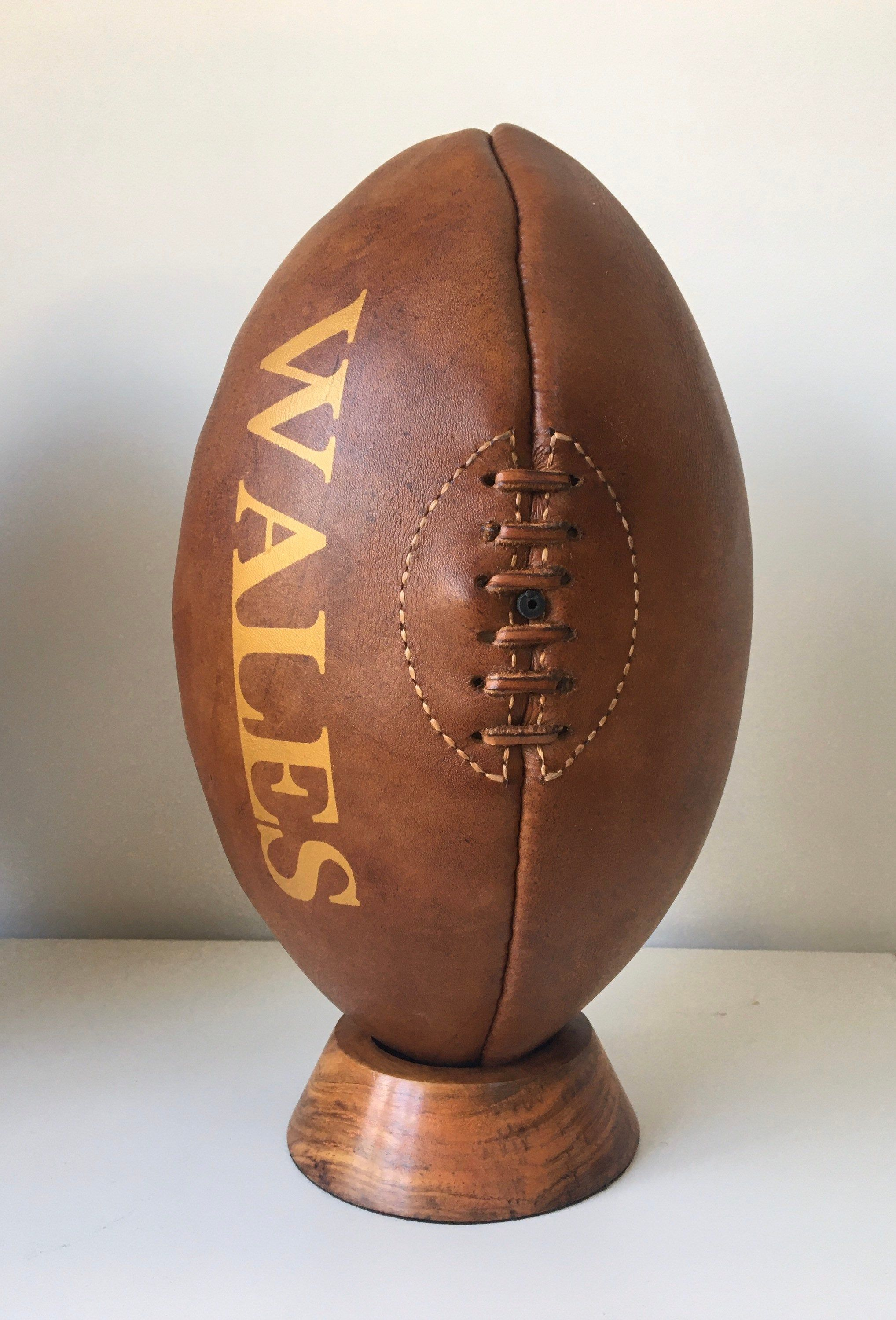 Rugby Vintage Wales Rugby Ball With Wooden Plinth Leather Rugby Ball Gift For Men Teenager Gift Corporate Gift Man Cave In 2020 Rugby Ball Rugby Vintage Teenager Gifts