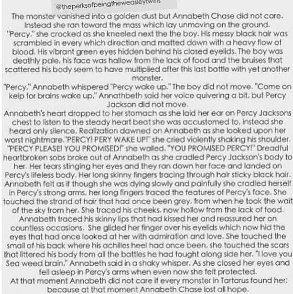 My heart is in pieces! Percy! Annabeth! Fanfictions literally rip me