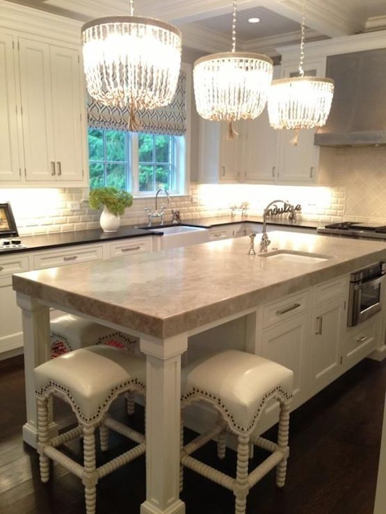 Gorgeous Kitchen Features Coffered Dotted With Ro Sham Beaux Adorable Kitchen Chandeliers Decorating Inspiration