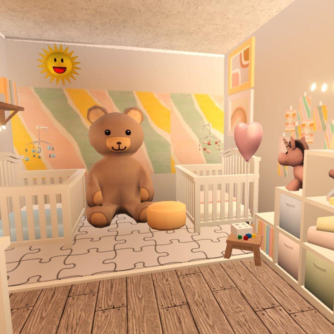 Rise And Shinee💫🌟 #roblox #bloxburg #welcometobloxburg #daycare #nursery #pastel #speedbuild | Baby Room Decals, Minecraft House Designs, Unique House Design