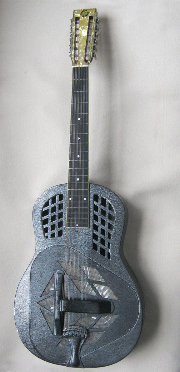 1992 Beltona Brendan Croker tricone 12 string Resonator Guitar. With baked powder coating.