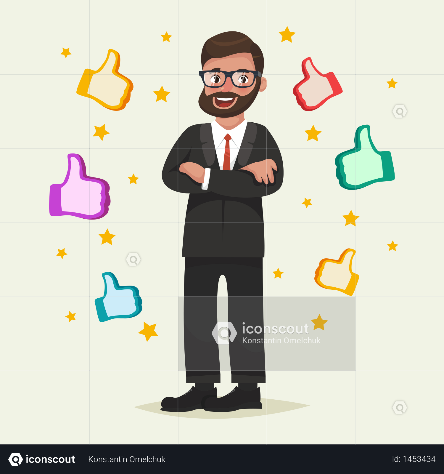 Premium Happy Man In Glasses With Beard With Gesture Like Around Him Illustration Download In Png Vector Format People Illustration Illustration Character Template