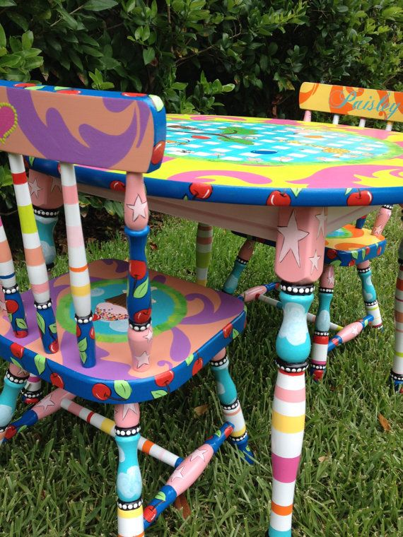 Custom Painted Table And Two Chairs Children Boys Or By