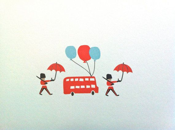 Happy Birthday Cards Illustrated London Themed With Bus And Balloons Happy Birthday Cards London Theme Bday Cards