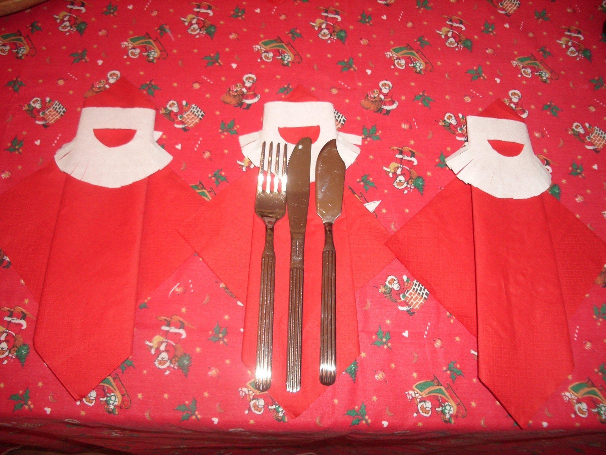Como doblar servilleta papa noel o reyes para mesa - Como doblar servilletas de tela ...