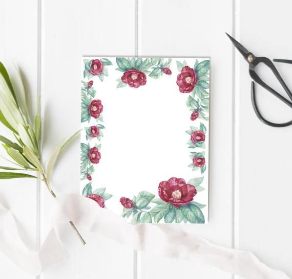 A printable letter paper with hand drawn watercolor floral - printable writing paper with border