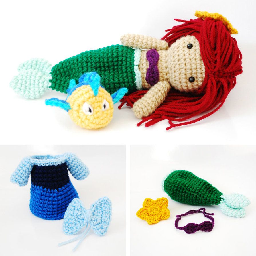 Ariel, The Little Mermaid. Crochet Amigurumi Doll. by ...