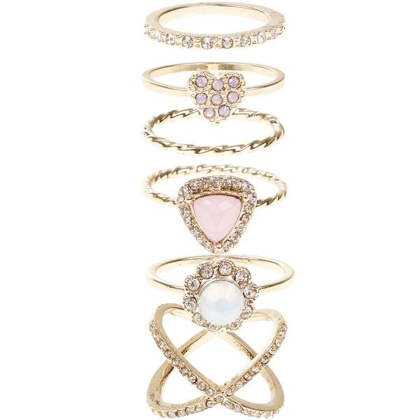 Accessorize Pretty Crystal Styling Ring Set ($29) ❤ liked on Polyvore featuring jewelry, rings, set rings, crystal jewellery, crystal rings, crystal stone rings and crystal jewelry