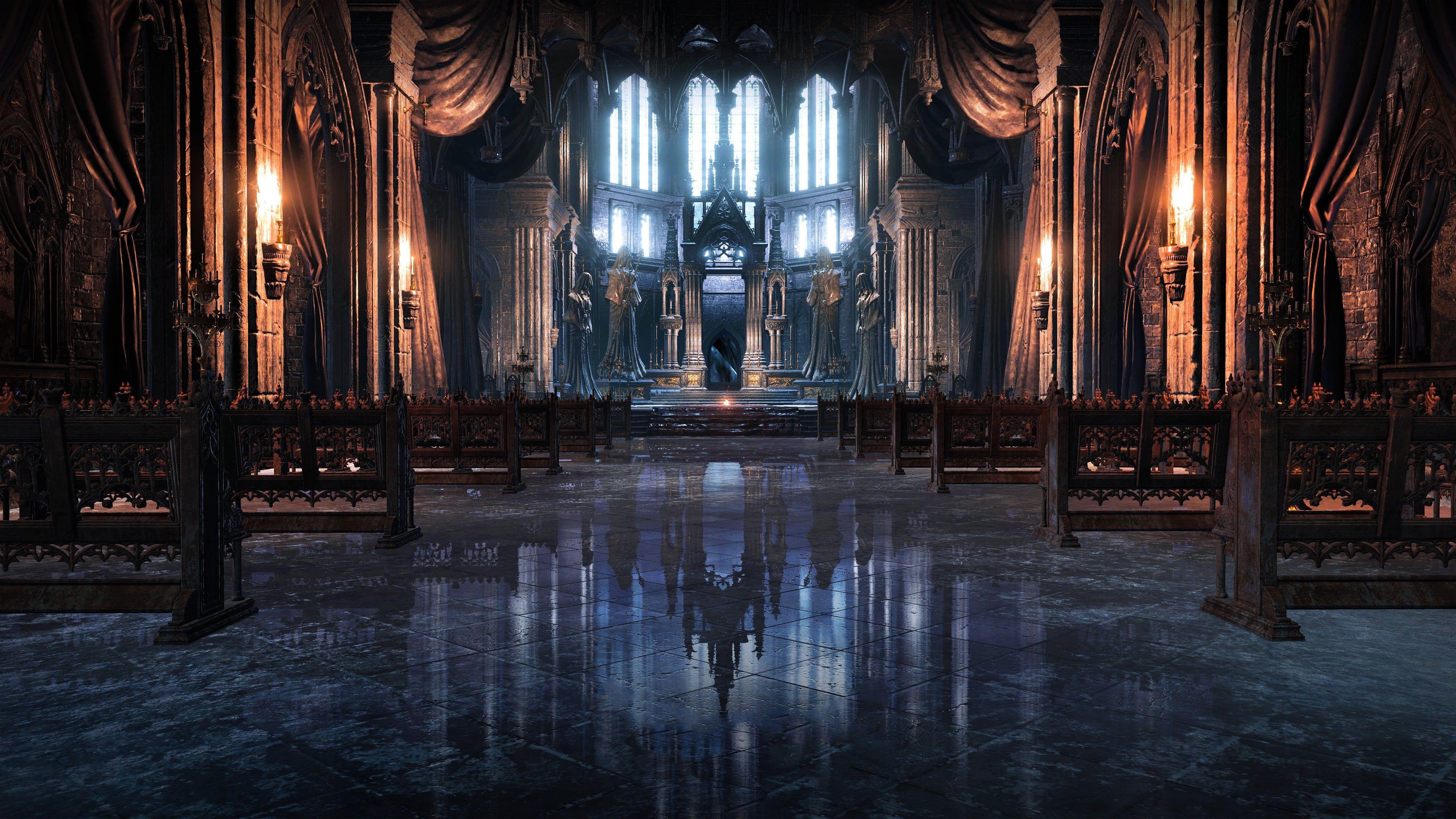 Cathedral Interior Wallpaper Dark Souls Dark Souls Iii Video Games Cathedral Irithyll 4k Wallpaper Hdwall In 2020 Dark Souls Landscape Wallpaper Fantasy Landscape