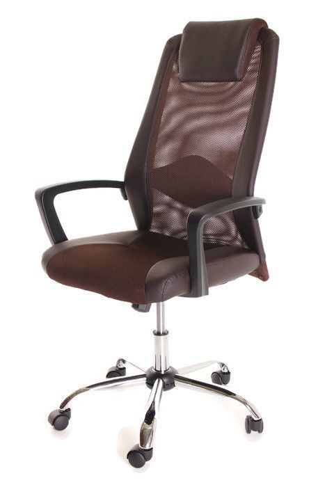 Brown Mesh And Leather Task Office Chair With Headrest By Timeoffice
