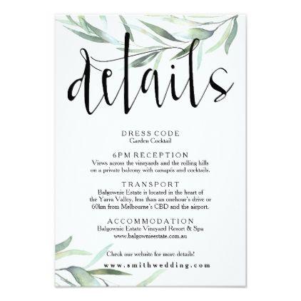 Eucalyptus Wedding Details Card With Greenery Wedding Invitations