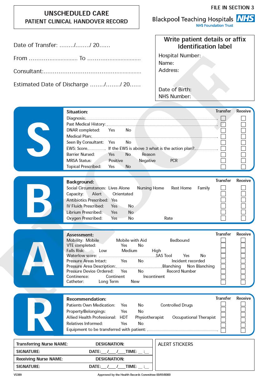 Image result for sbar handover | Sbar. Sbar nursing. Nhs