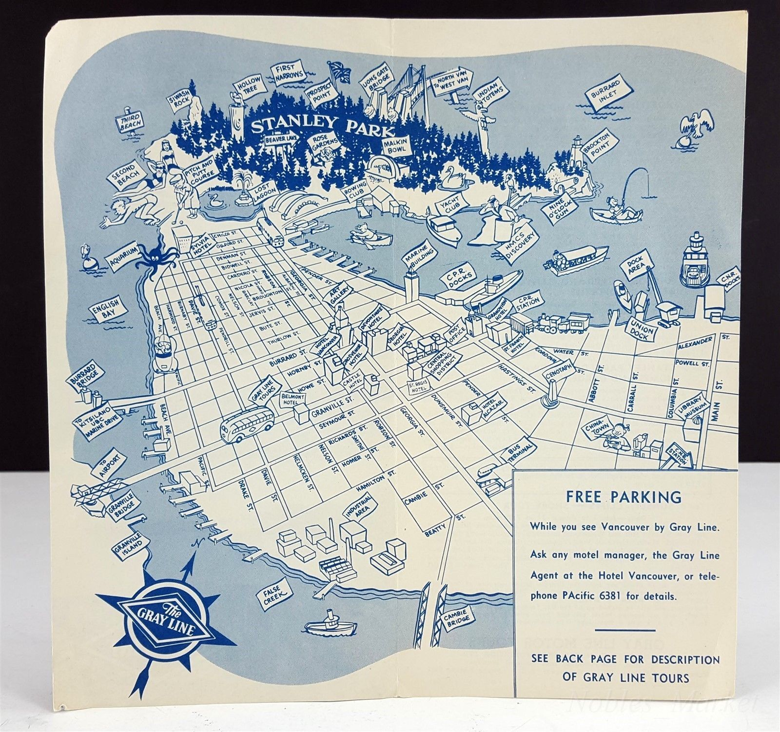 Vintage Greyhound city map of Vancouver BC Canada