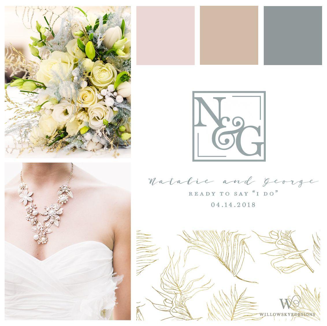 Beautiful Cohesive Wedding Look. Custom Monogram. Wedding Planning ...