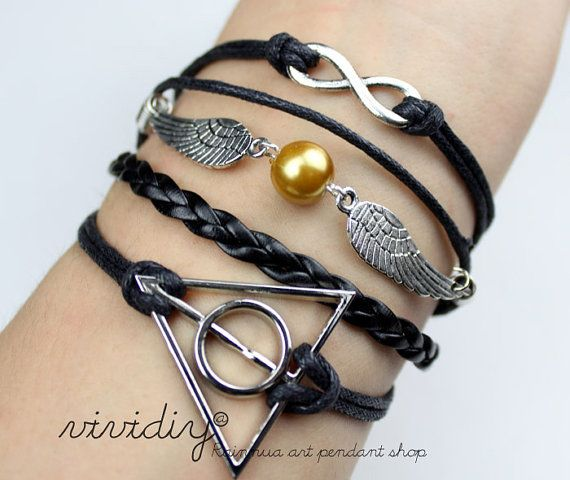 Harry Potter braceletGolden snitch pearlInfinity wish by vividiy, $6.99