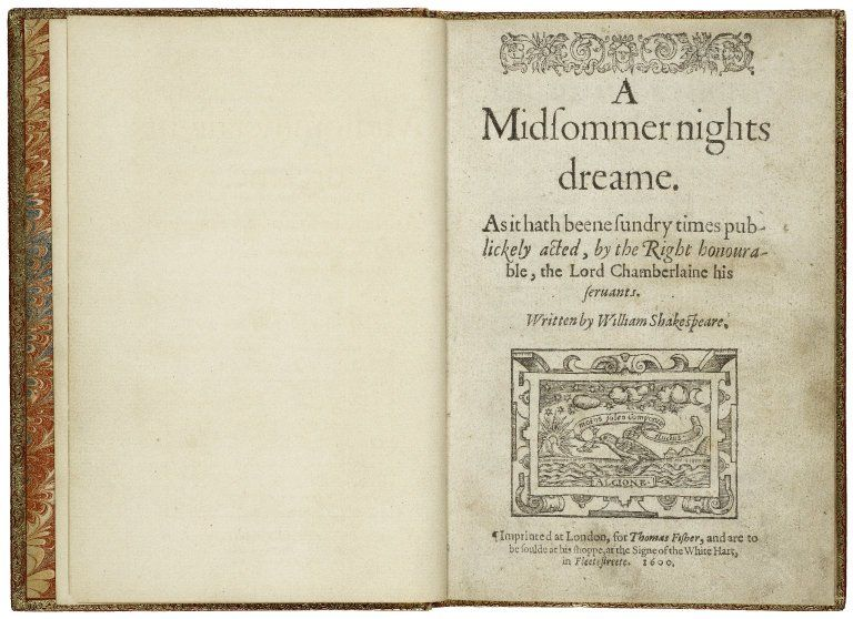 The title page of the first quarto of A Midsummer Nightu0027s Dream