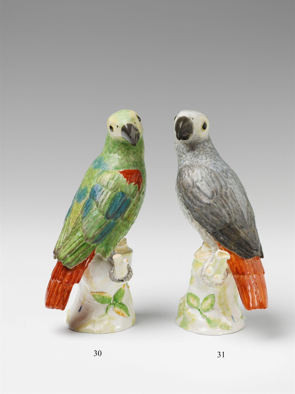 Königliche Porzellanmanufaktur Berlin, Ca. 1765, presumably modelled by Johann Paptist PeA large Berlin KPM model of a green parrot, Auction 1065 The Berlin Sale, Lot 30 #KPM #porcelain #porzellan #parrot