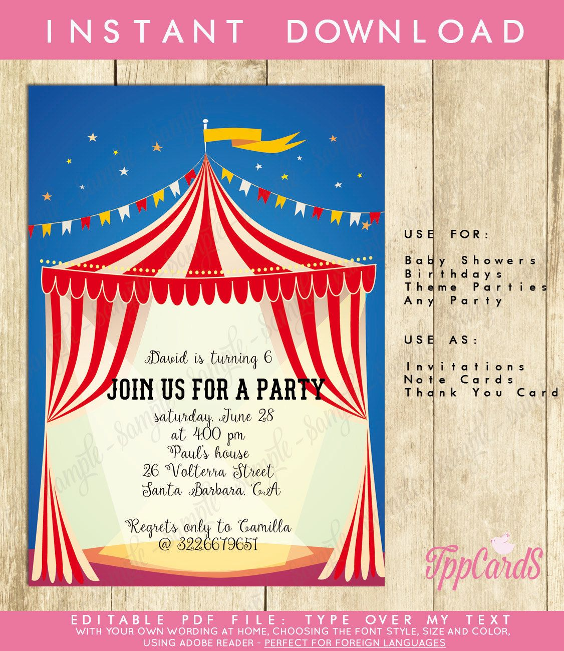 Circus Carnival Invitation Red & White INSTANT DOWNLOAD | 10Y party ...