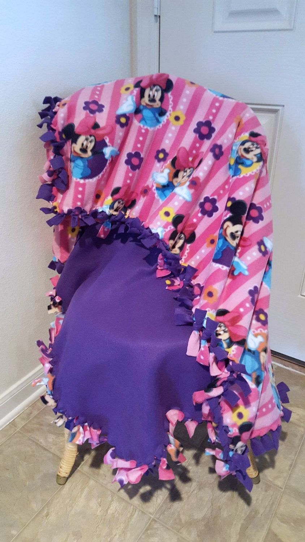 No Sew Fleece Travel Pillow: Minnie Mouse Knotted Fleece Blanket  Purple Fleece  Daycare  Nap    ,
