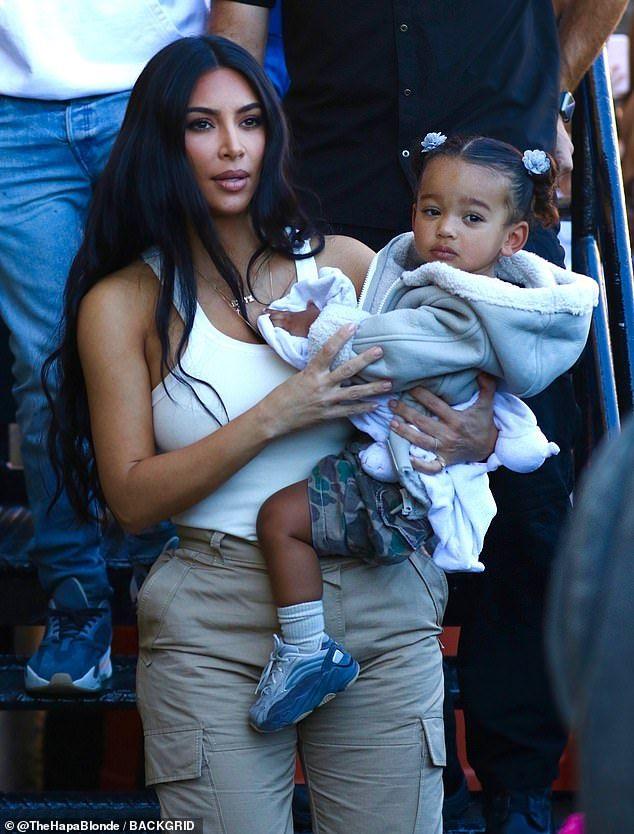 Kim Kardashian joins Kanye West and kids North, Sa