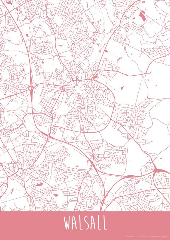 Walsall Town England Art Map Roads Print Your Places Walsall and