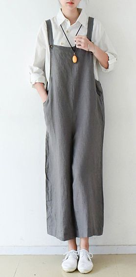 eb67f758ea690 Gray cozy cotton jumpsuit pants plus szie linen pants wide leg ...