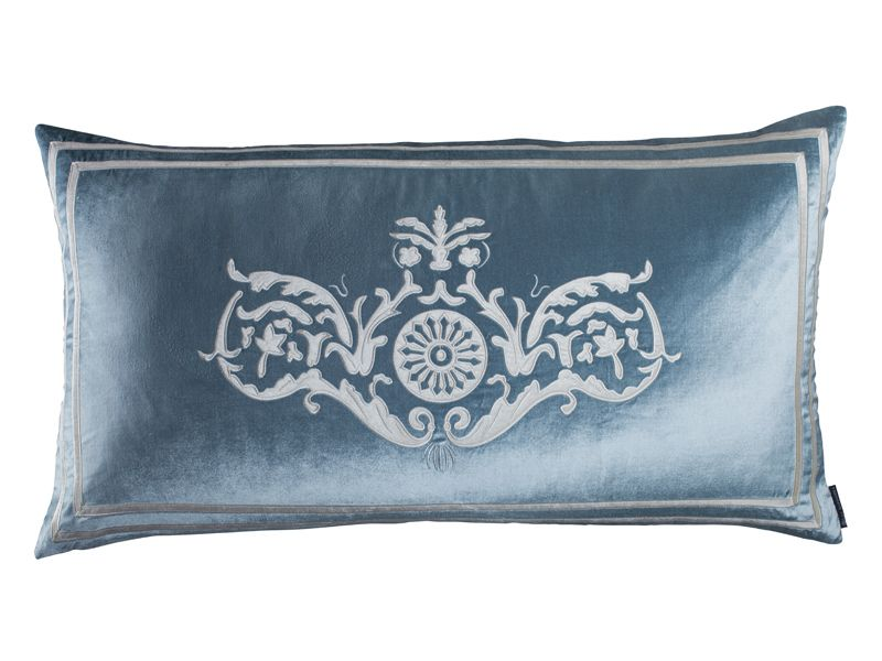 Paris King Pillow Ice Blue Velvet Ivory Velvet 40 X 40 L40AKSB Cool Ice Blue Decorative Pillows