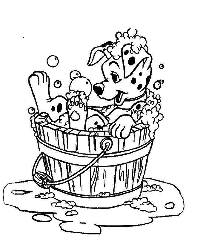 Coloriage les 101 dalmatiens le chiot dans la bassine coloriages dalmatiens coloriage et - Chiot a colorier ...
