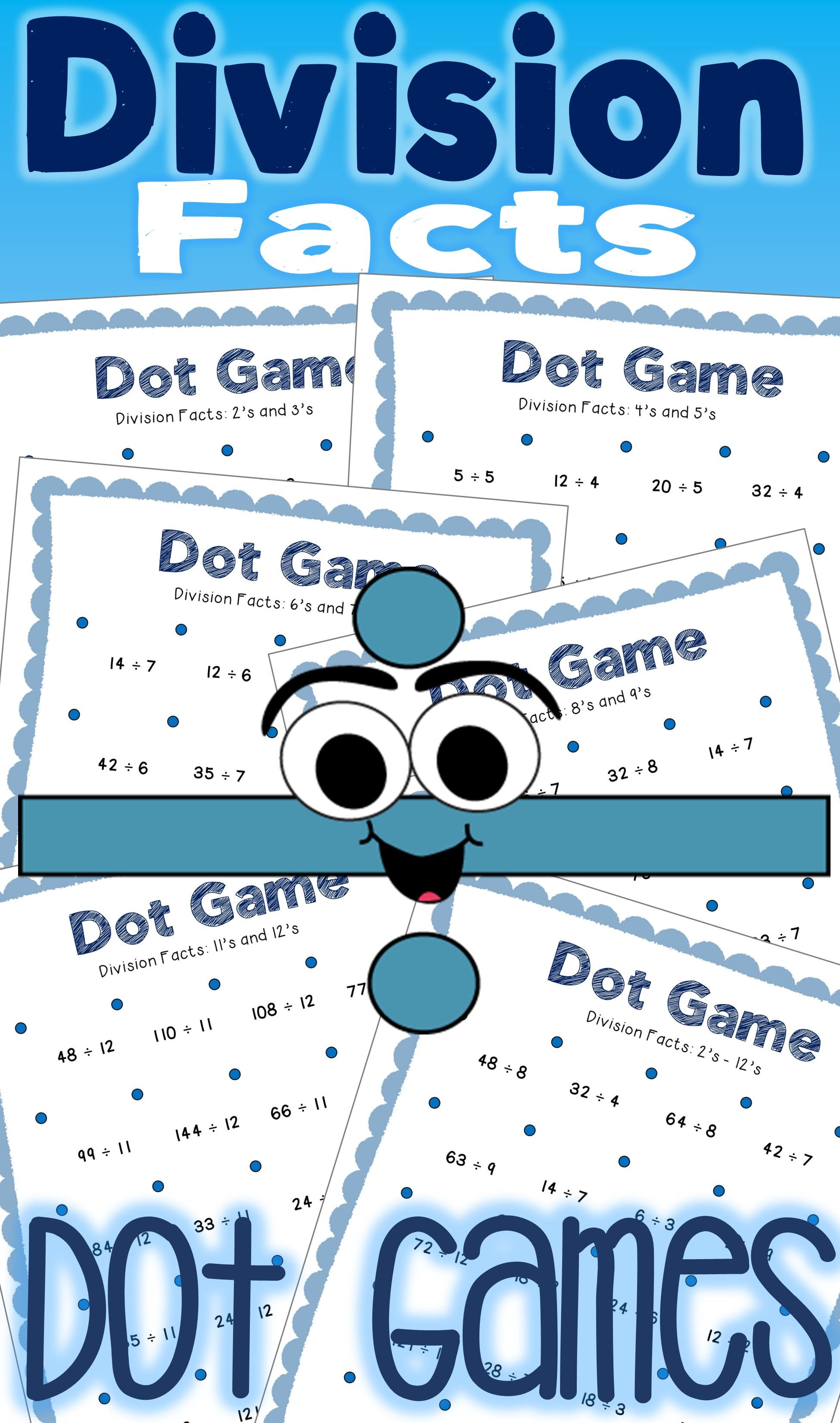 Division Facts Math Centers: Dot Games | Add, Subtract, Multiply ...