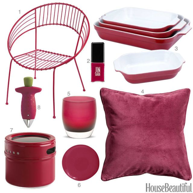 Color Obsession of the Week Raspberry Red is part of Red Home Accessories Colour - A chair, baking dishes, a glass votive, and more