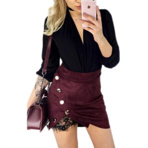 Pencil button lace patchwork sexy Suede Leather split party casual Mini Skirt