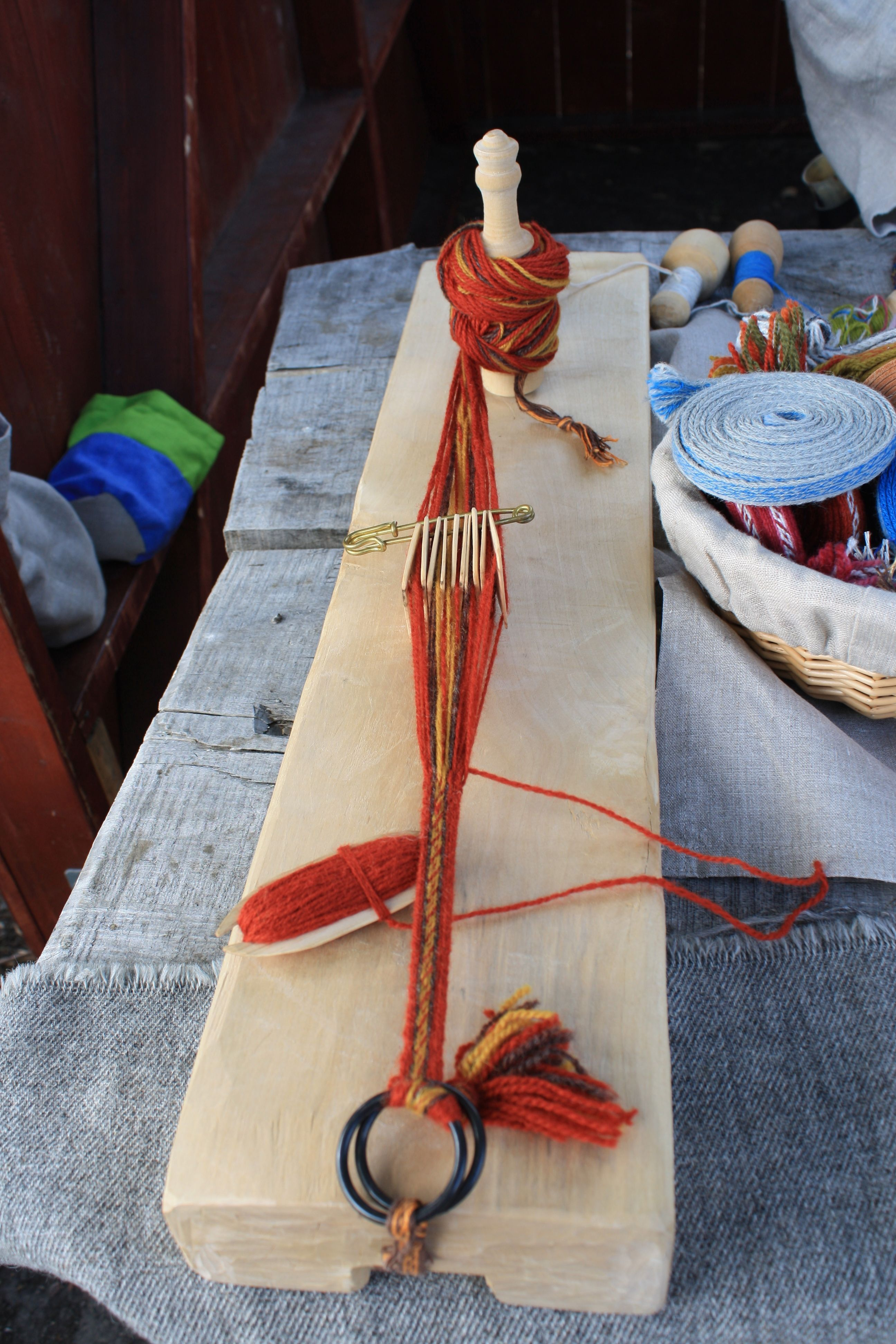 old fashioned weaving loom Repinned by Elizabeth VanBuskirk. Here is a simple loom that could be used in class for card weaving.