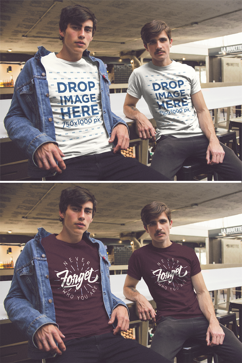 Download Placeit Two Guys Wearing A T Shirt Mockup Hanging Out At A Bar Shirt Mockup Clothing Mockup Hoodie Mockup