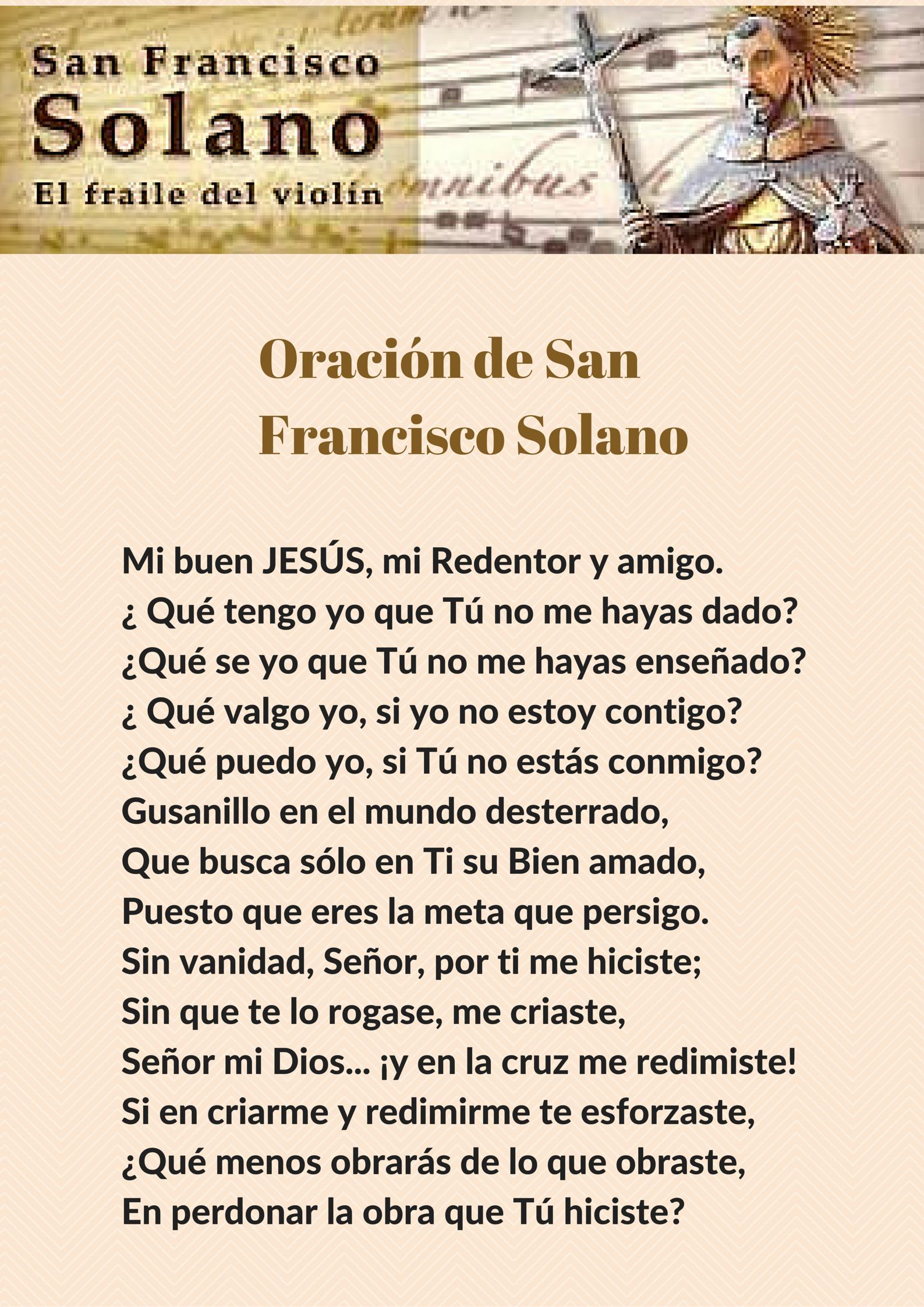 Fiesta 24 de Julio.Oración de San Francisco Solano.