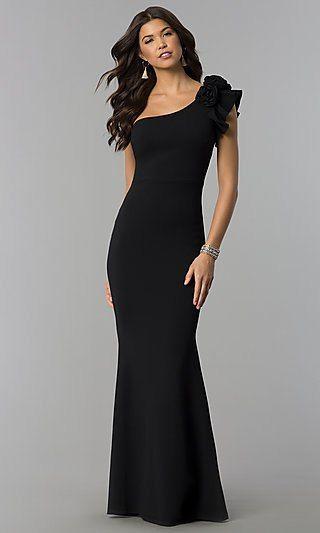Ruffled One Shoulder Formal Long Jersey Dress Bby Pinterest