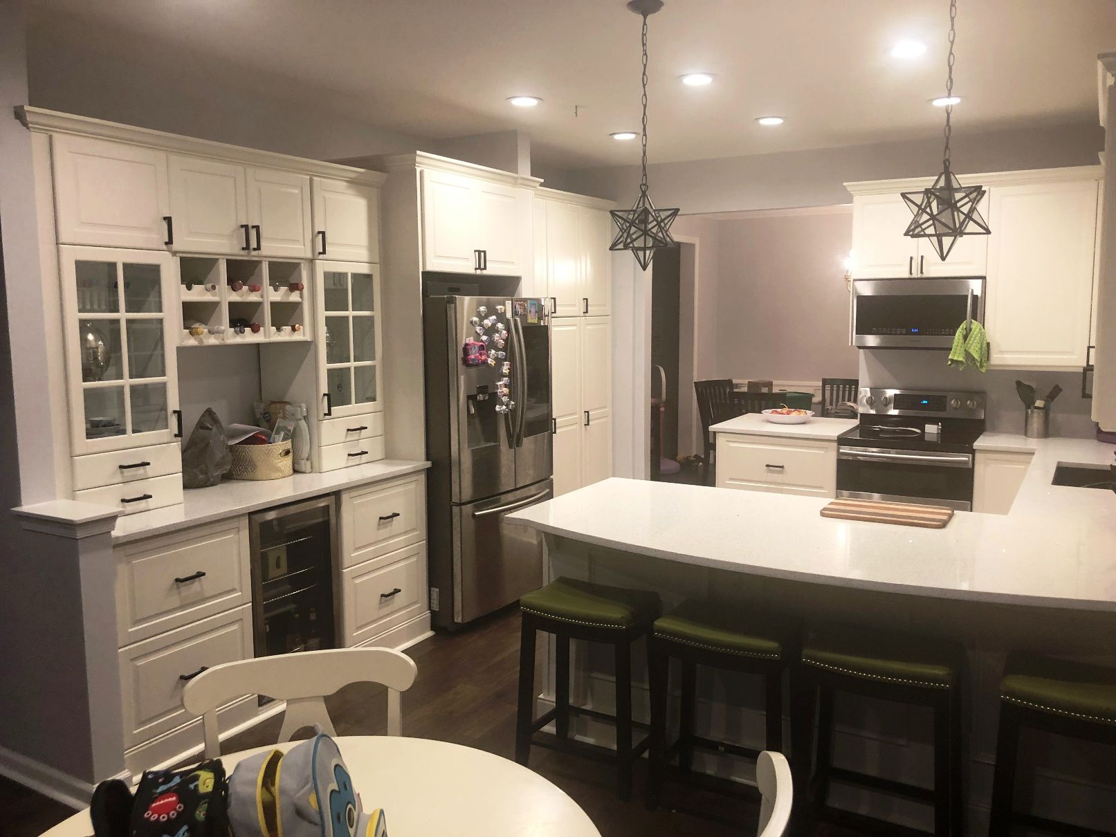 The Area Next To The Fridge Features Ikea Bodbyn Cabinetry To Create A Separate Built In Beverage S In 2020 Ikea Kitchen Design Kitchen Inspiration Design Ikea Kitchen