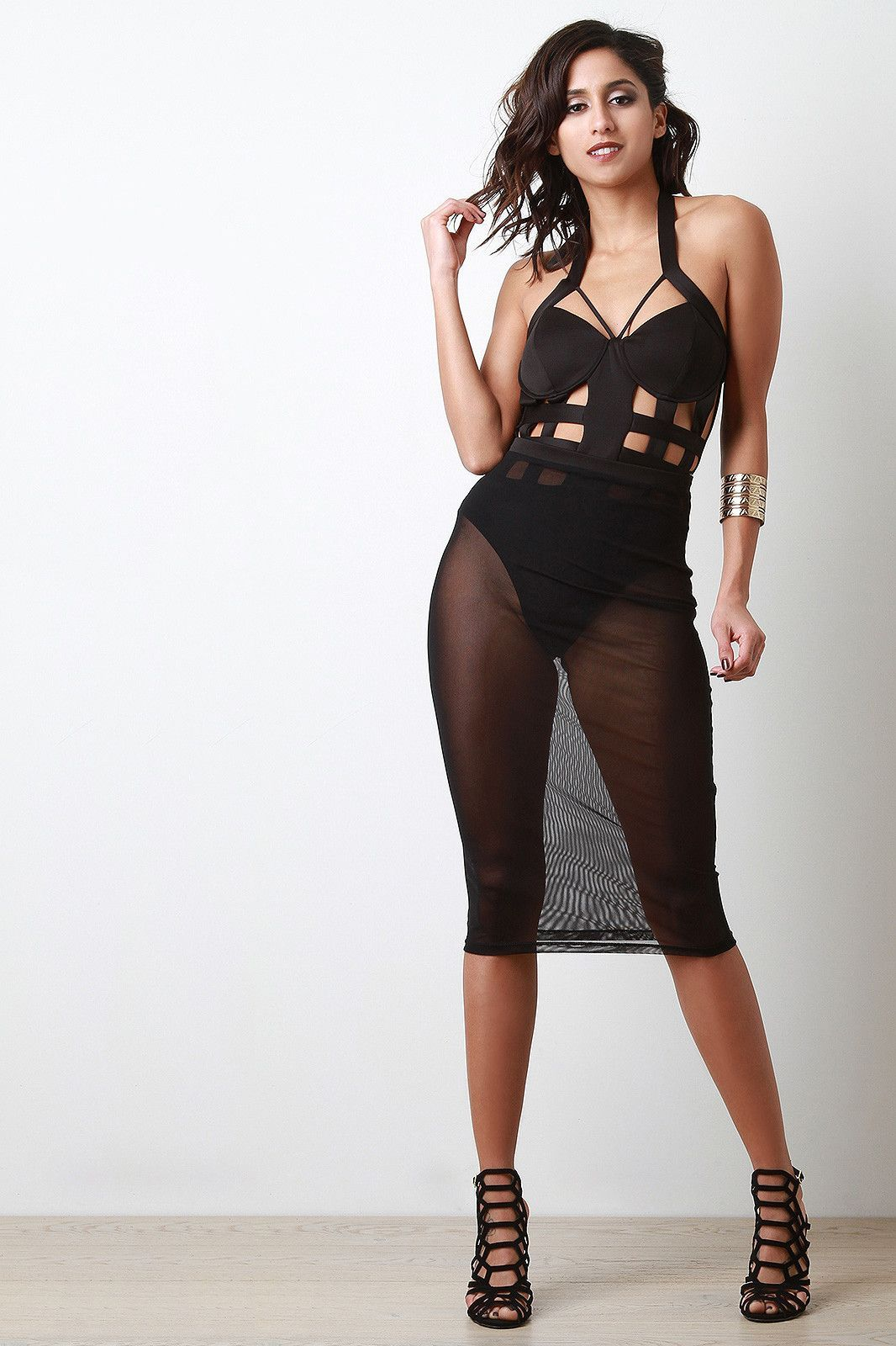 8f9cc0b5e Halter Cage Bodysuit With Sheer Mesh Midi Skirt | Stuff to buy ...