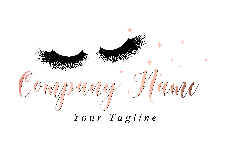 Custom logo, pink gold lashes logo, eyelash logo, cosmetics