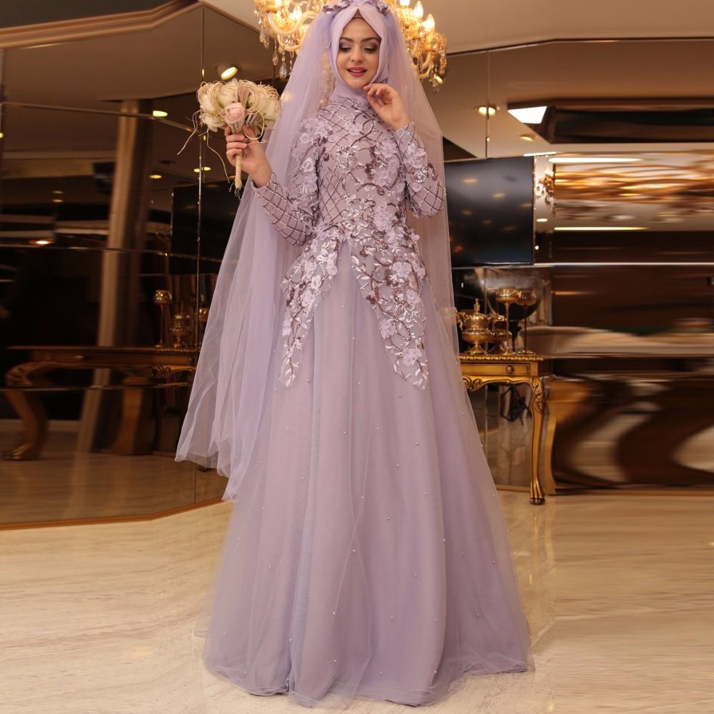 Find More Wedding Dresses Information About Muslim Light Purple Weeding Long Sleeve Appliques Beading