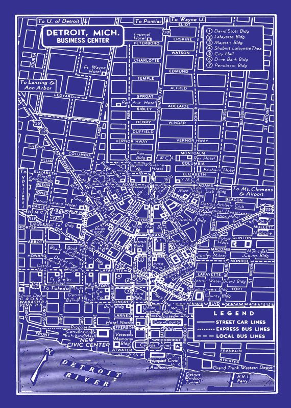 1949 Vintage Map of Detroit Michigan Blueprint Map Print Poster