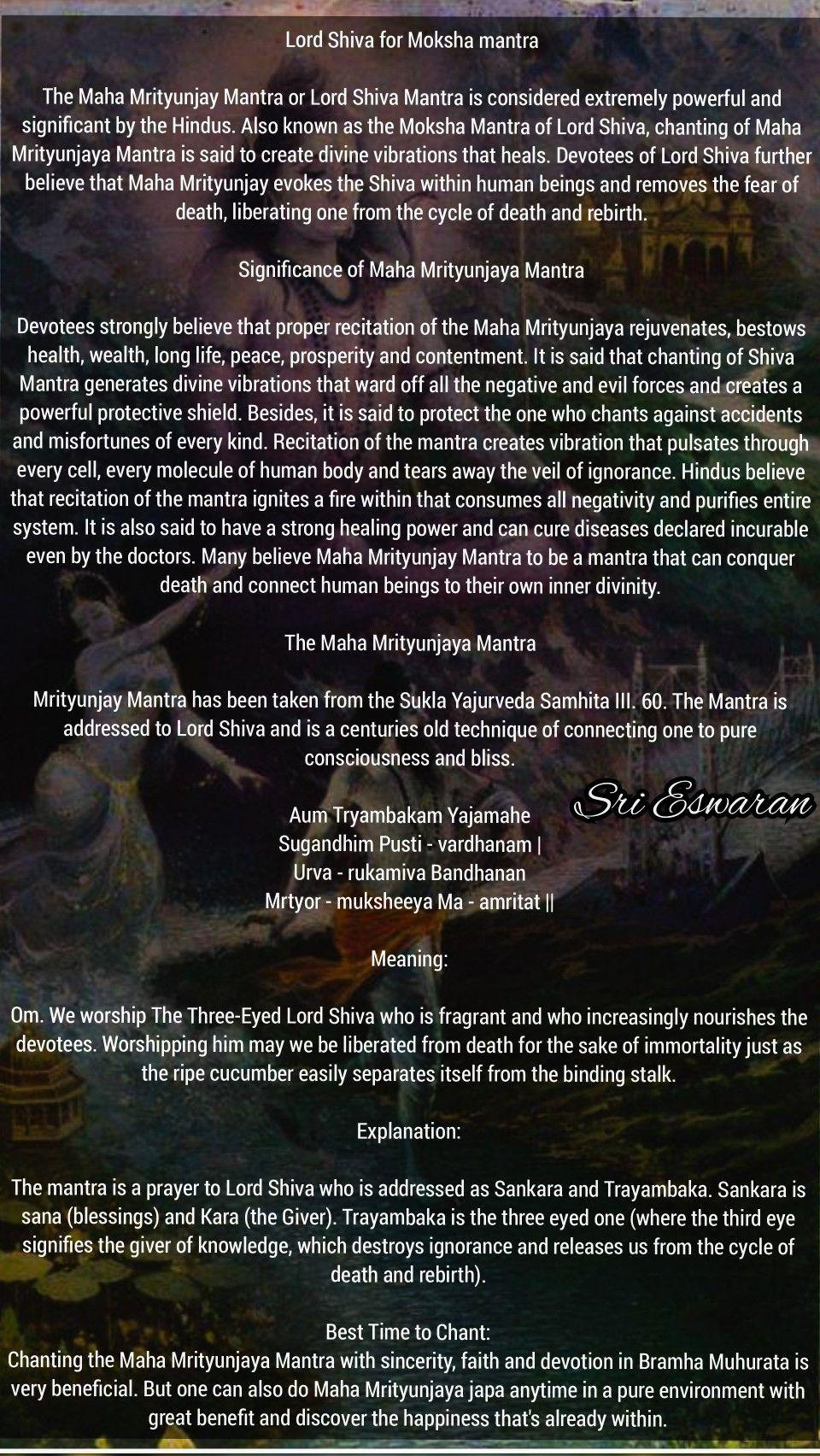 Lord Shiva for Moksha mantra The Maha Mrityunjay Mantra or