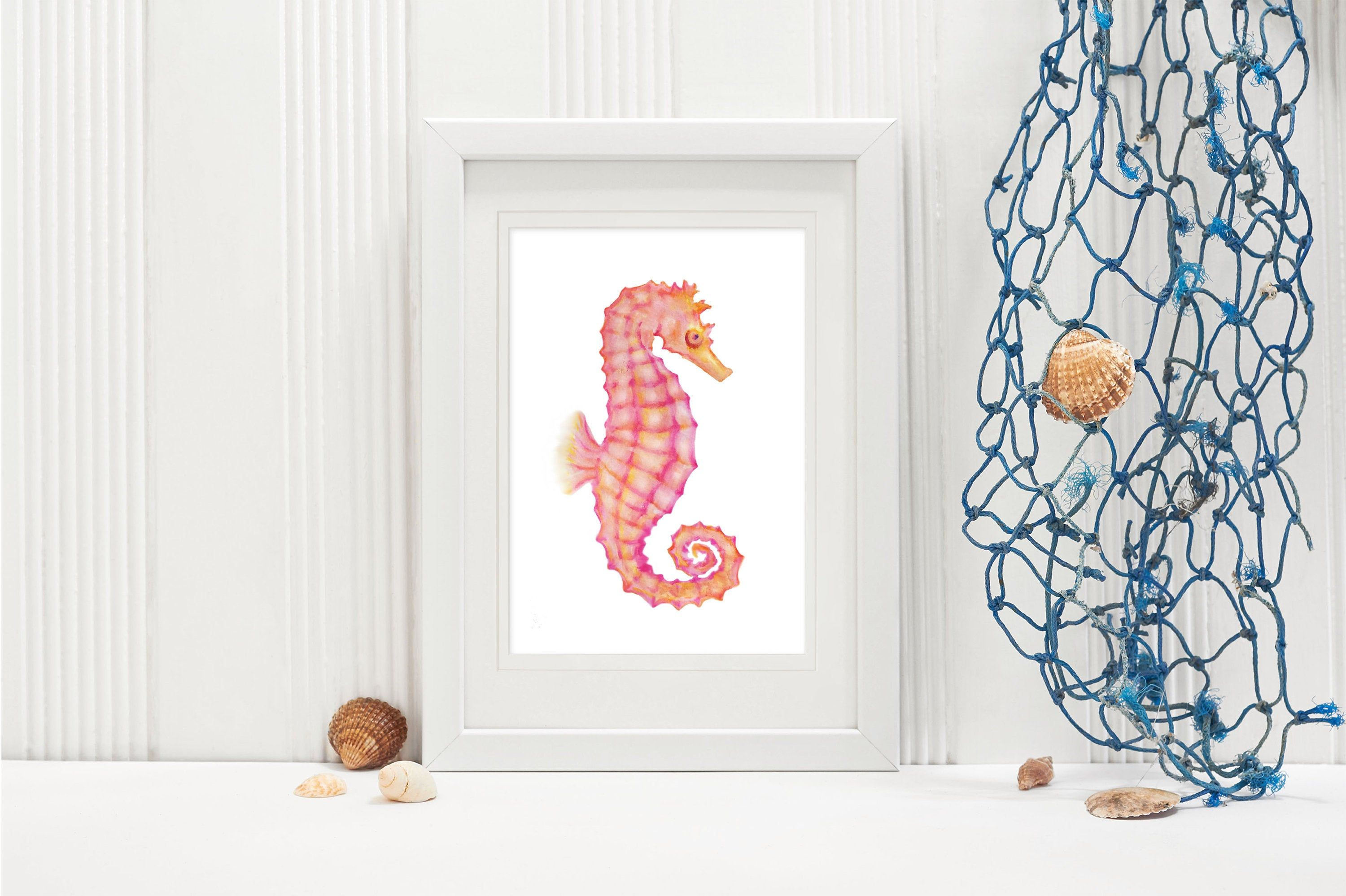 Seahorse Printable Wall Decor Instant Download Art Beach House