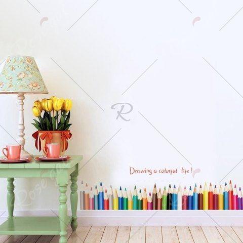 3D DIY Creative Crayon de Couleur Dessin Plinthe Fenêtre Décor À La - dessiner une maison en 3d