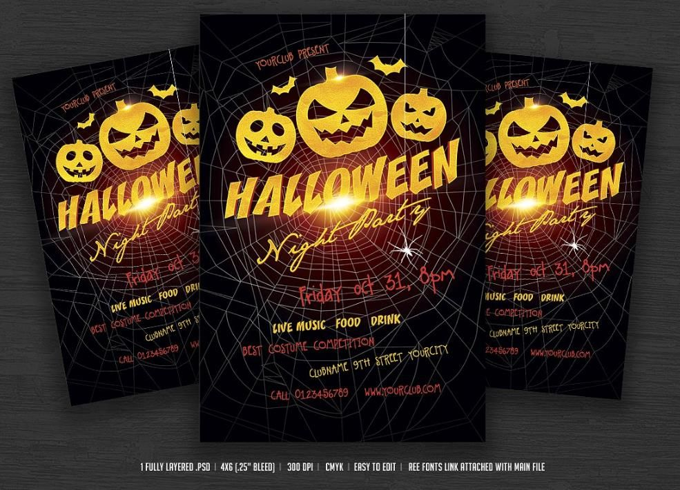 25+ Halloween Poster Flyer Template PSD,Ai,Indesign,Word