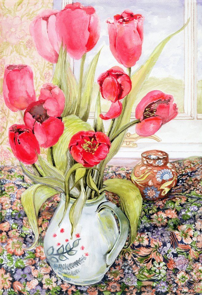 Tulips In A Rye Jug Painting by Joan Thewsey