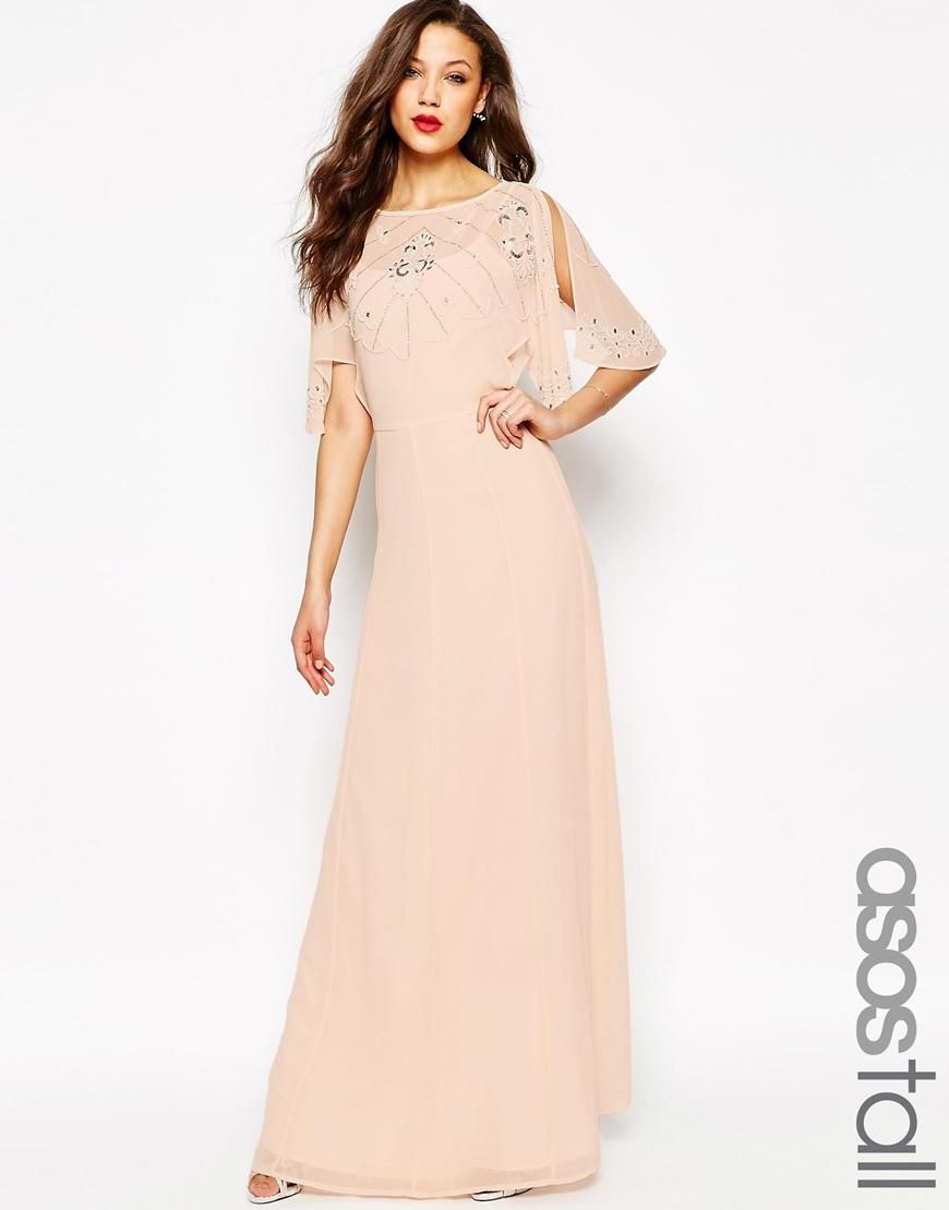 47e794f505c806 ASOS Tall | ASOS TALL Embellished Flutter Sleeve Maxi Dress at ASOS ...