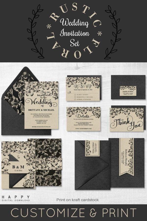 Rustic Floral Wedding Invitation Suite Customize